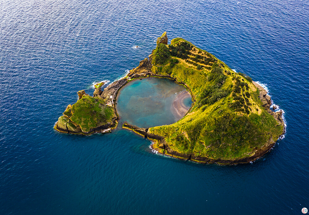 Drone picture of Islet of Vila Franca do Campo, São Miguel Island, Azores