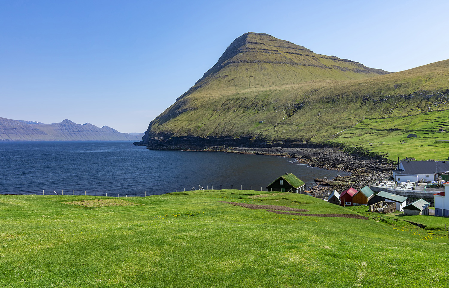 View towards Kalsoy from Gjogv village, Faroe Islands