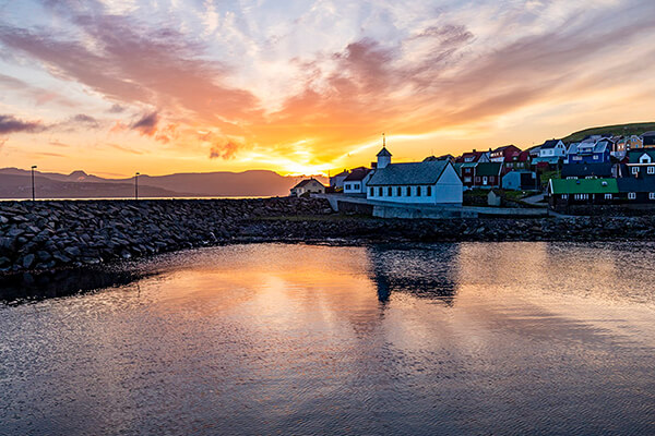 Sunset in Nólsoy Harbour, Faroe Islands