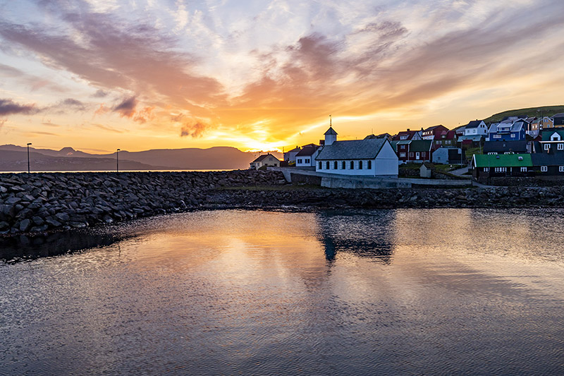 Beautiful sunset in Nólsoy, Faroe Islands