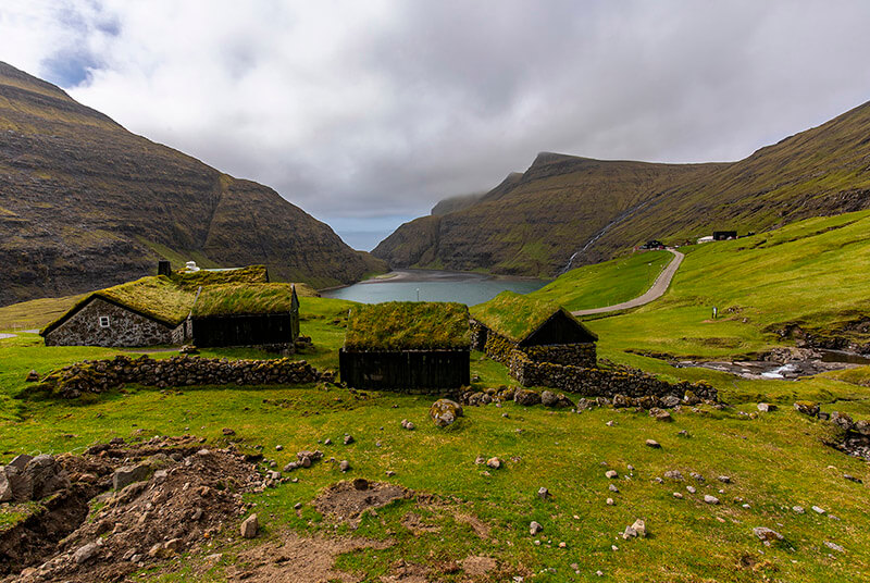 Cute small houses in Saksun Valley, Faroe Islands