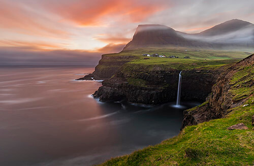 Gásadalur and Múlafossur Waterfall, Faroe Islands