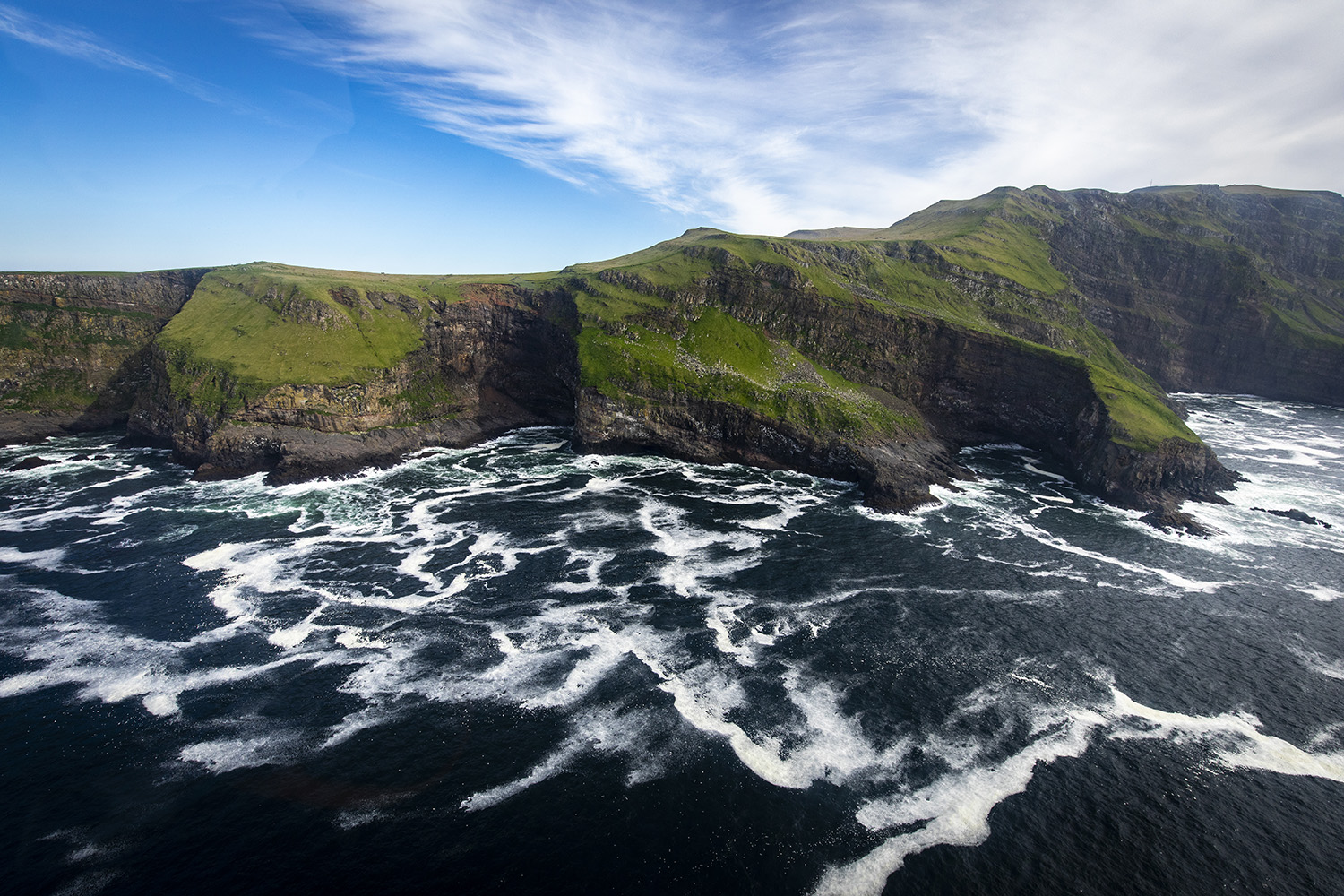 Mykines view from helicopter, Faroe Islands