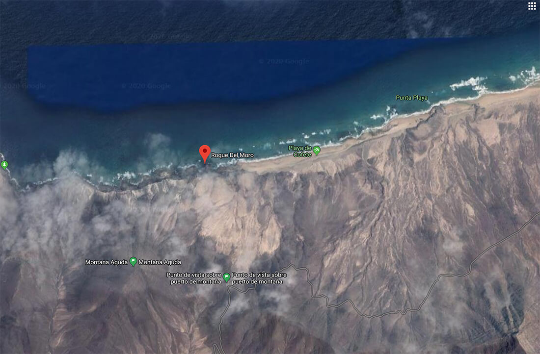 Roque Del Moro on Google Maps, Fuerteventura