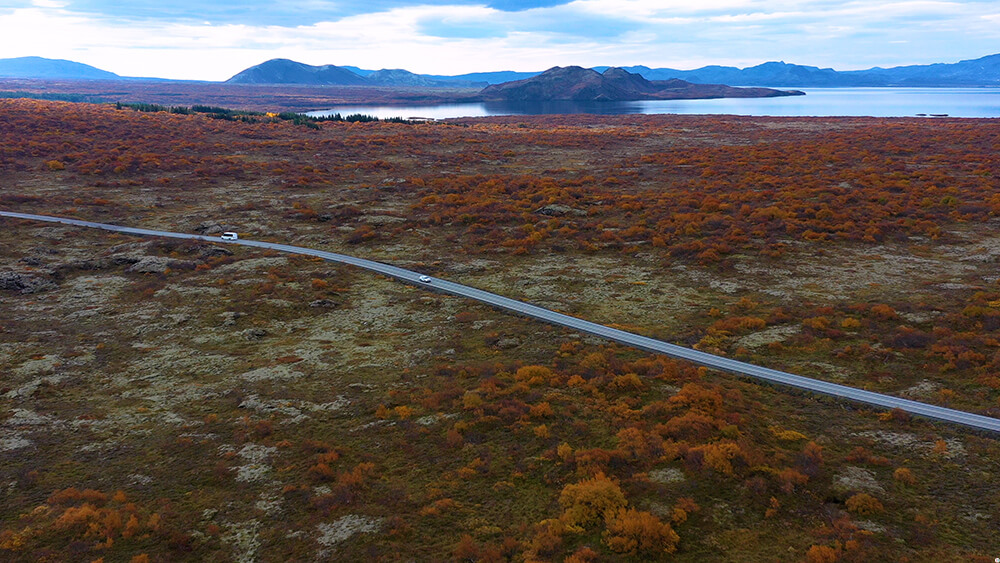Road in Thingvellir National Park, Golden Circle, Iceland