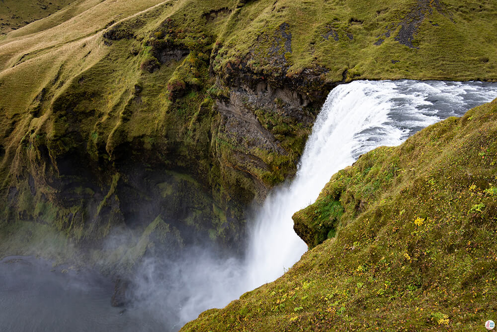 Skógafoss waterfall from above, South Iceland