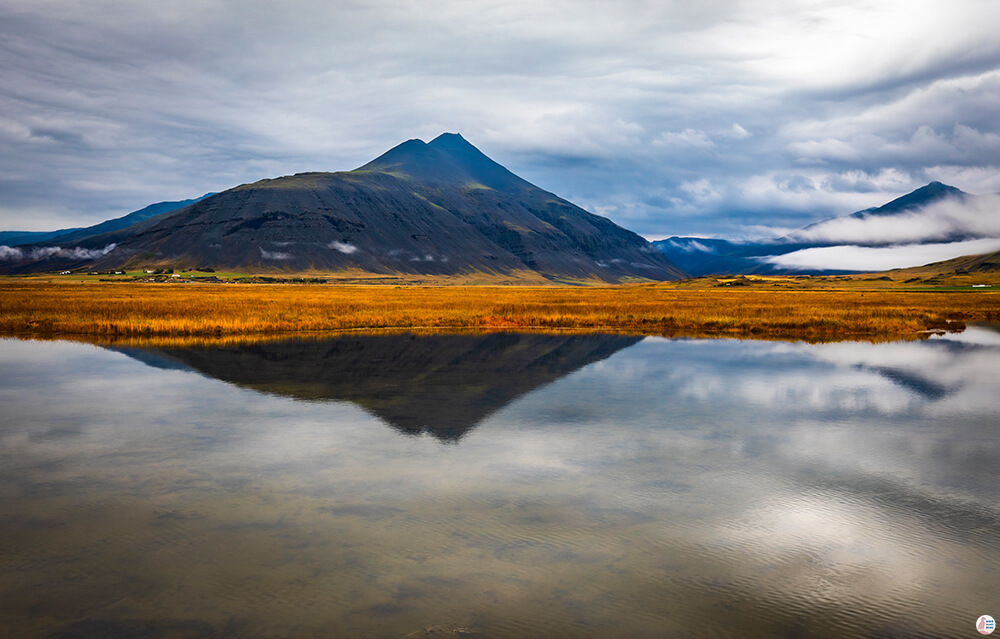 Mountain reflection next to the ring road on Iceland's South Coast