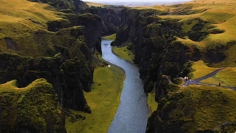 Fjaðrárgljúfur Canyon in the South Coast of Iceland, Drone View
