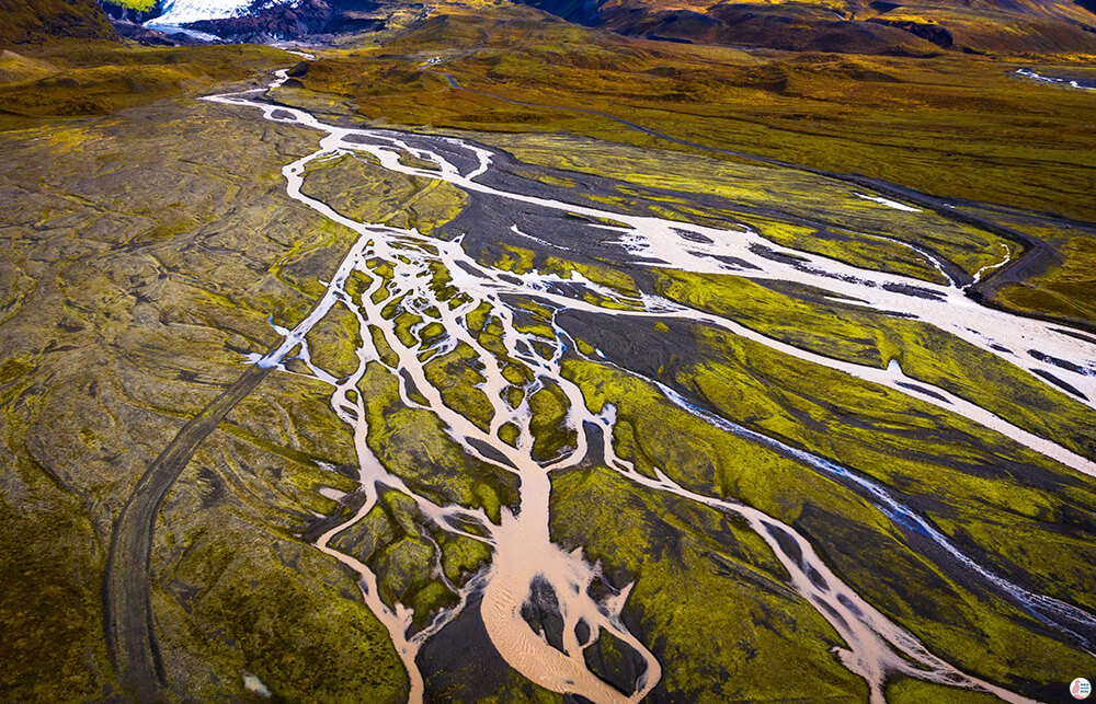 Network of rivers from Vatnajökull, drone view, South Iceland