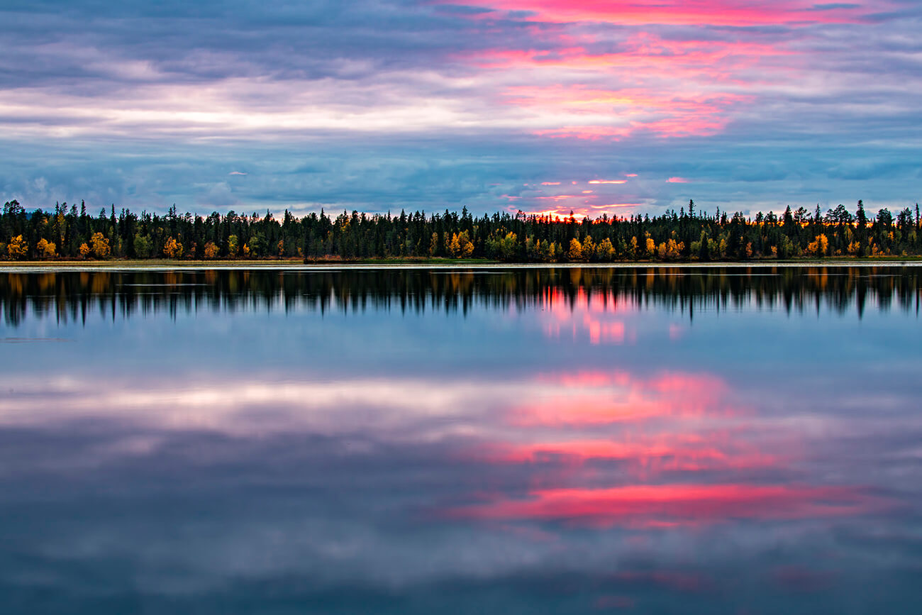 Another interesting sunset at Toras-Sieppi lake, Lapland, Finland