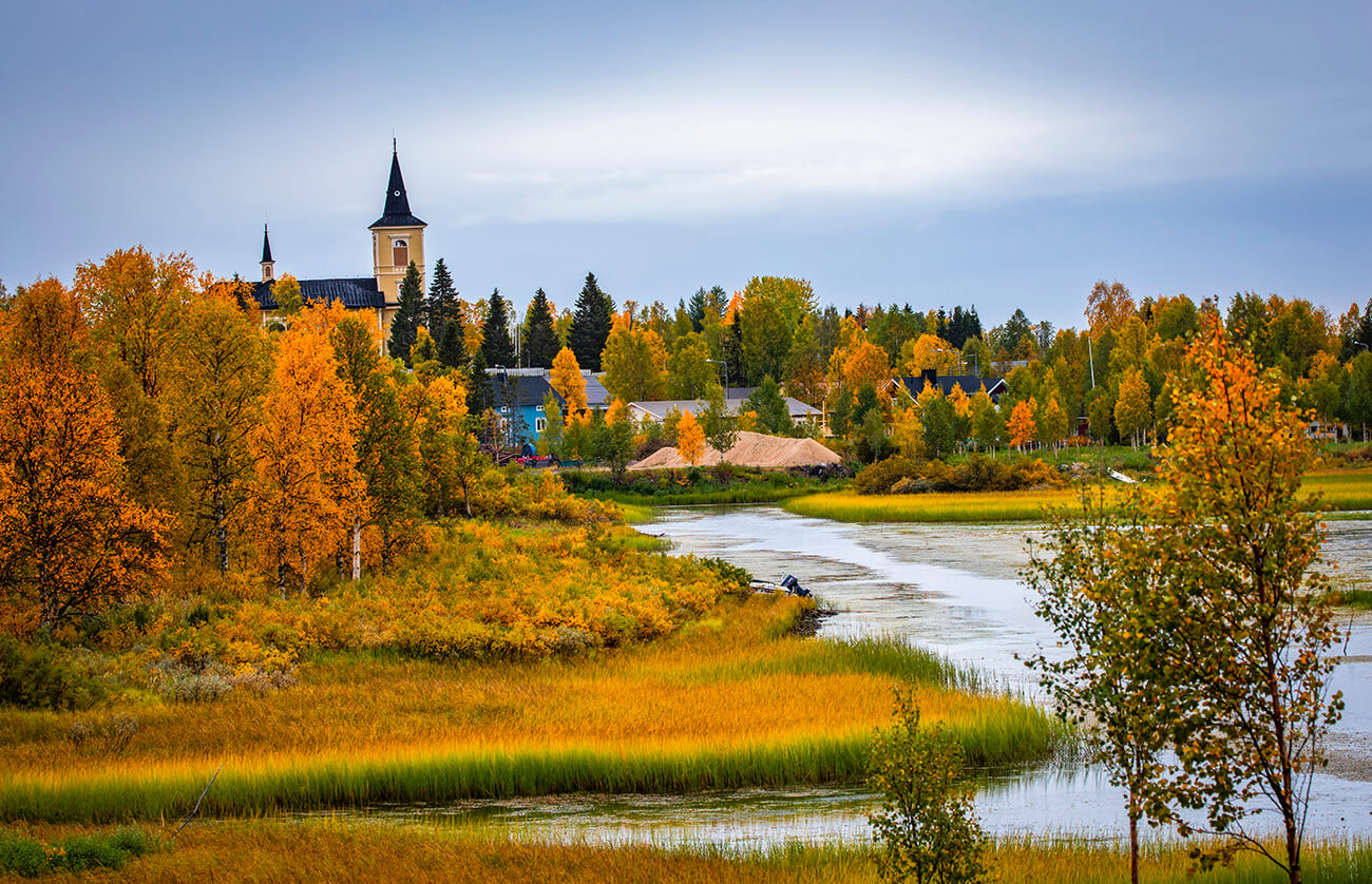 Muonio church and autumn colors, Lapland, Finland