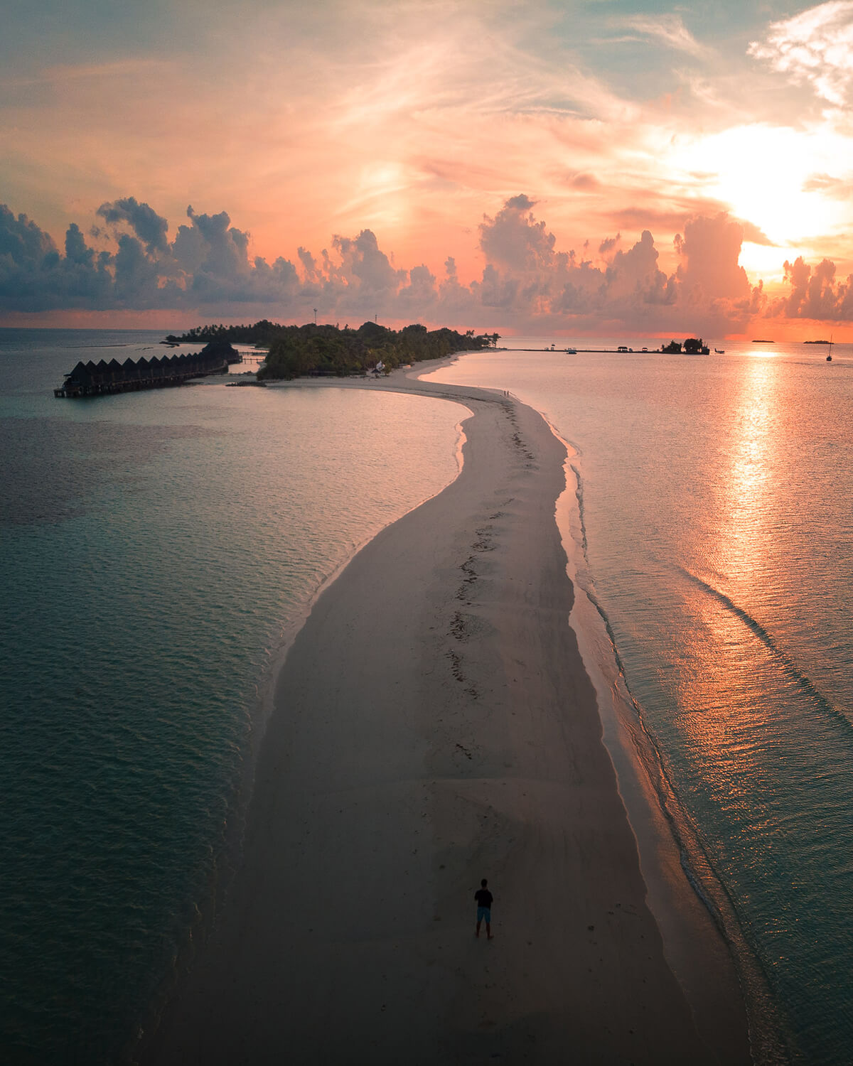 Amazing sunrise on Kuredu Island, Maldives