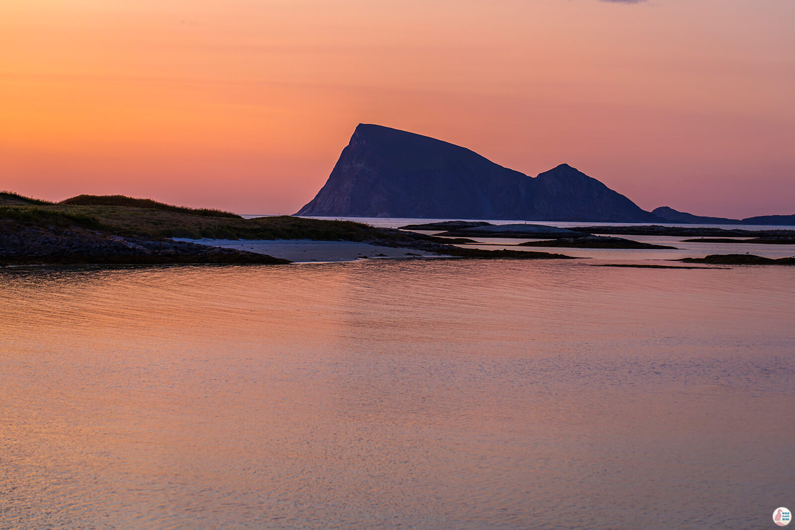Sunset view from Sommarøy fishing village, Troms, Northern Norway