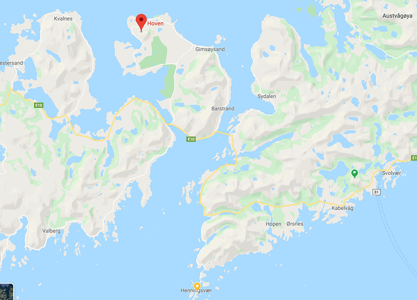 Gimsøya and Hoven Mountain Peak on Google Maps, Lofoten, Northern Norway