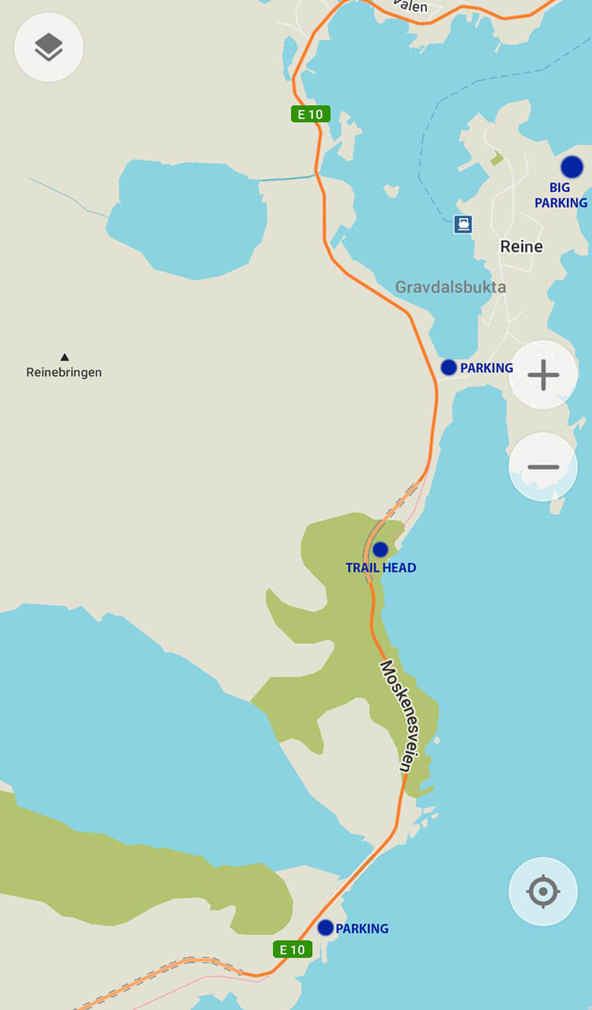 Reinebringen parking place map, Lofoten, Northern Norway
