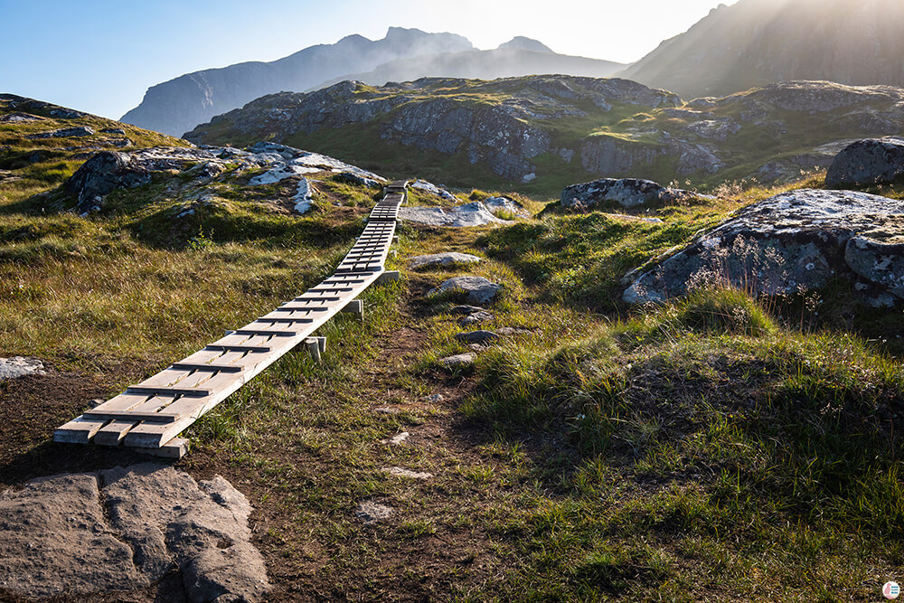 Wooden path at Ryten hiking trail, Moskenesøya, Lofoten, Norway