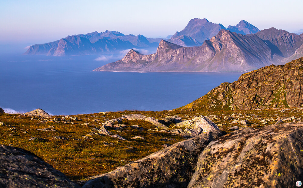 View from Ryten mountain peak, Moskenesøya, Lofoten, Norway