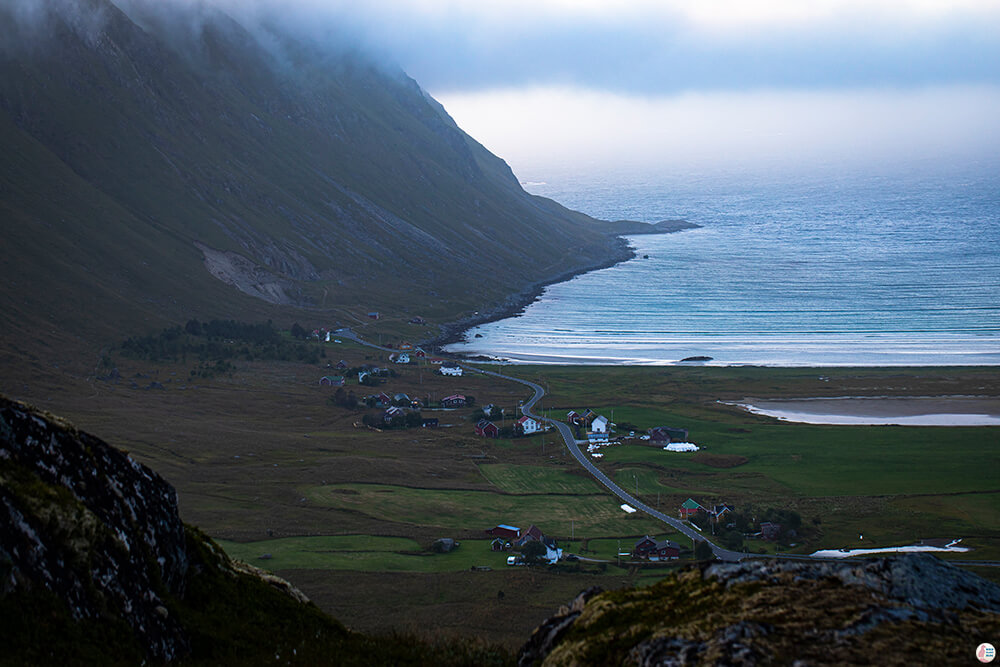 Ytresand, view from Ryten hiking trail, Moskenesøya, Lofoten, Norway
