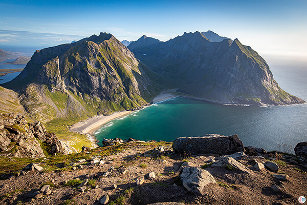 Kvalvika beach view from Ryten hiking trail, Moskenesøya, Lofoten, Norway