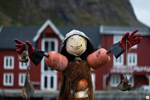 Puppet in the centre of Å fishing village, Lofoten, Northern Norway