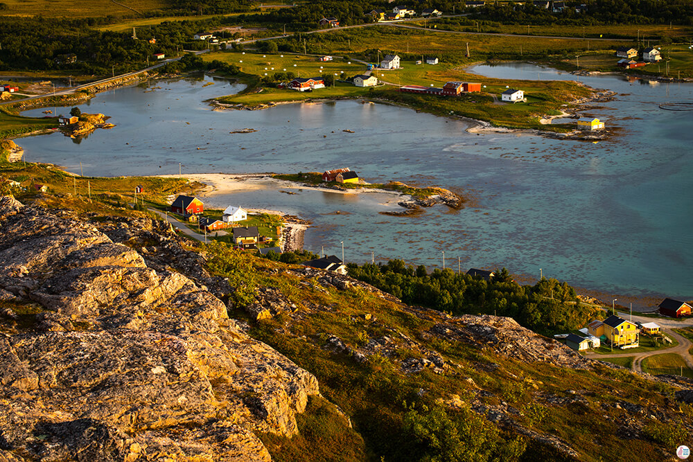 Brensholmen fishing village, view from Ørnfløya hiking trail, Troms, Northern Norway