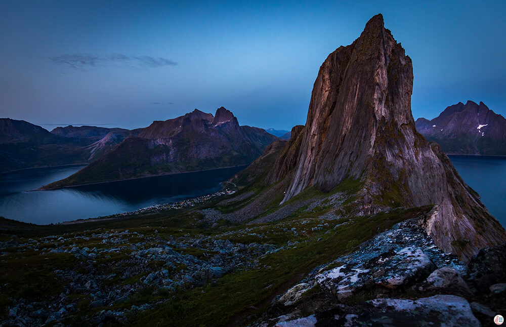 Segla mountain peak viewed from Hesten peak, Senja, Northern Norway