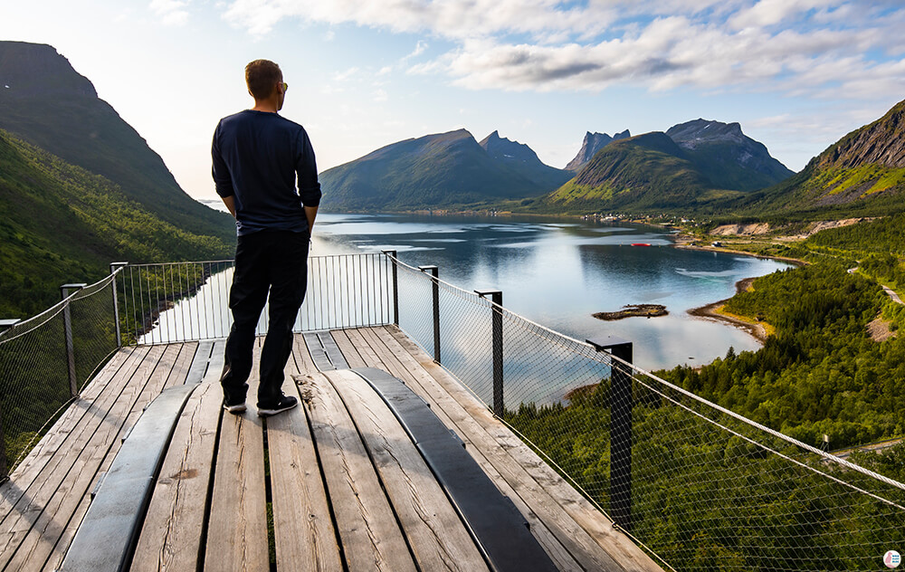 Man admiring the views from Bergsbotn Platform, Senja, Northern Norway