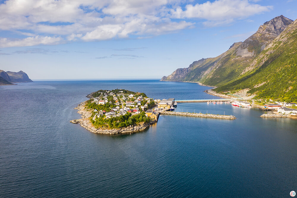Husøy village from above, Senja, Northern Norway