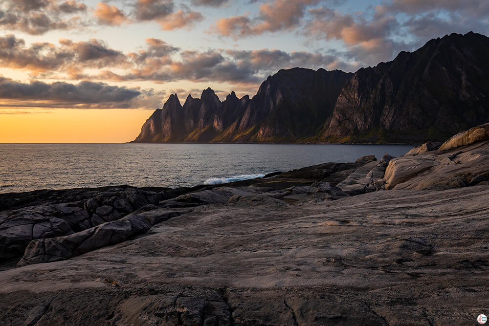 Sunset at Tungeneset, view towards Ersfjord, Senja, Northern Norway