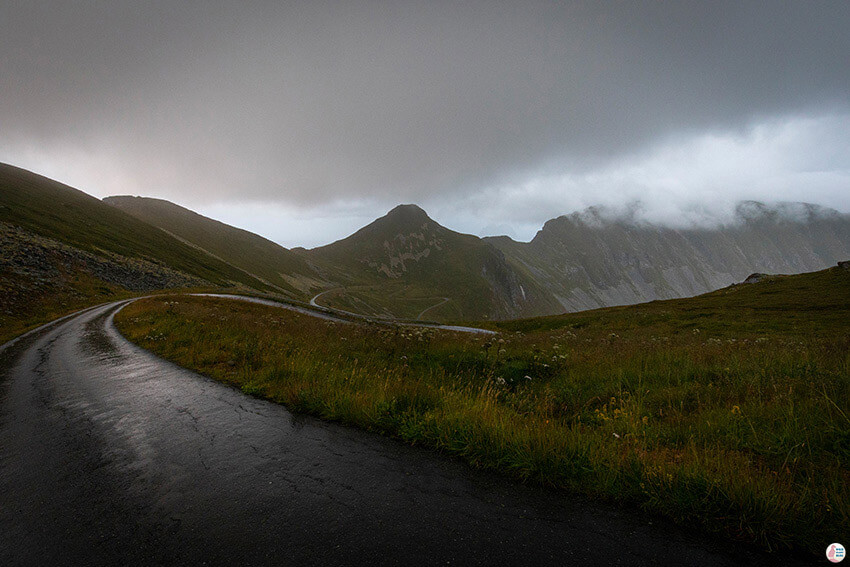 Rainy road towards Måstadfjellet viewpoint on Værøy, Lofoten, Norway