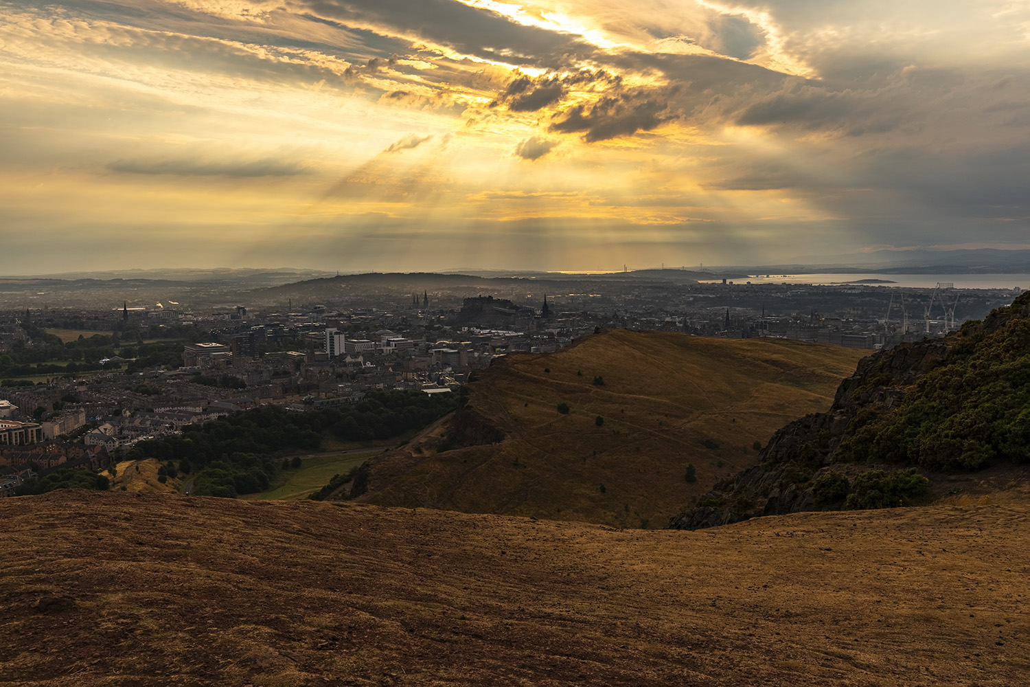 Holyrood Park and Edinburgh view from Arthur's Seat