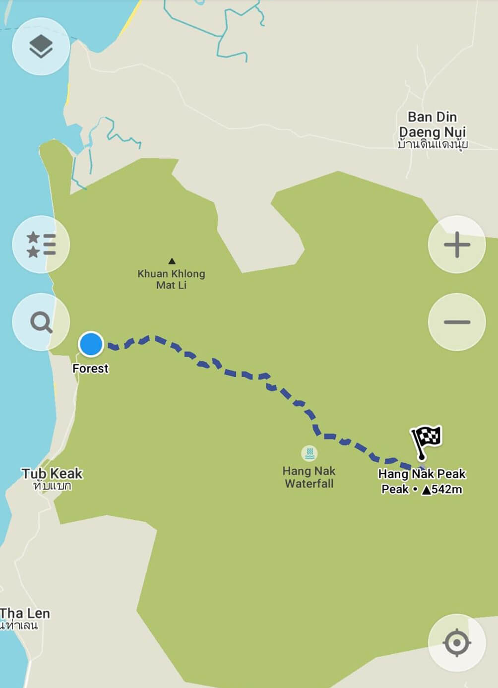 Khao Ngon Nak hiking trail map, Krabi, Thailand