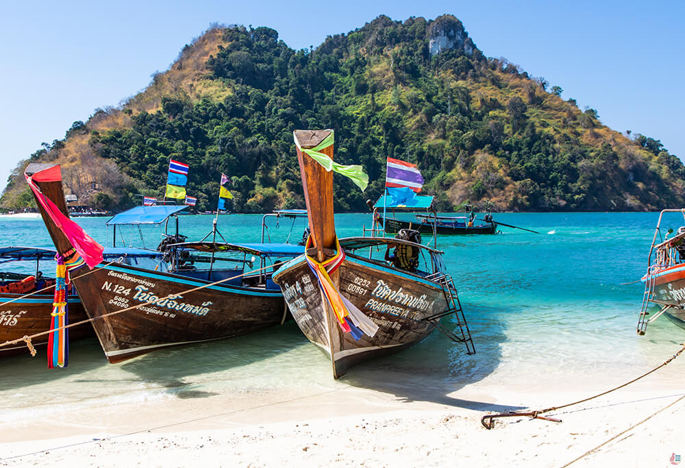 Long tail boats at Thap Island, Poda Islands, Krabi, Thailand