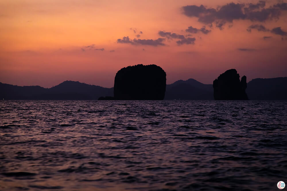 After sunset at Hong Islands, Krabi, Thailand
