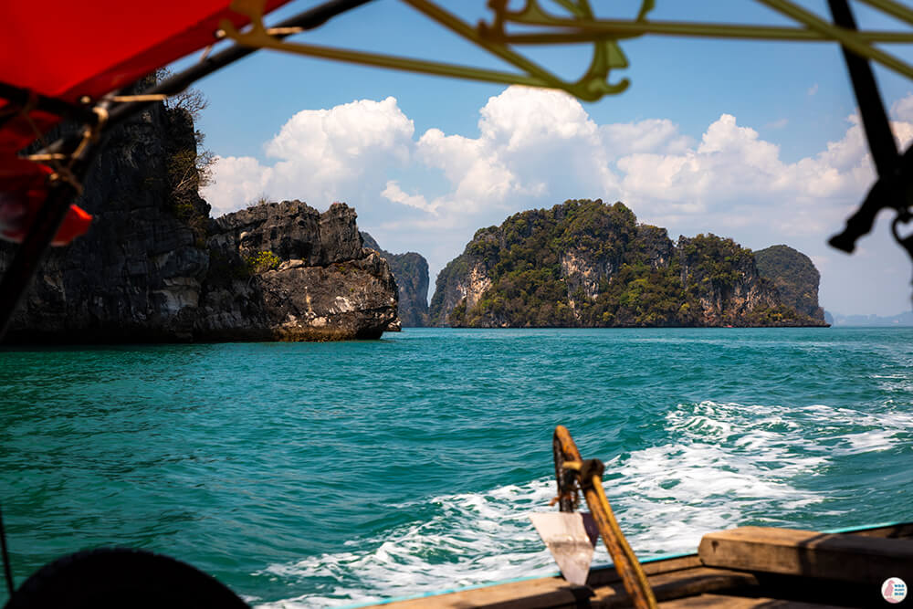 Long-tail boat heading towards Hong Islands, Krabi Province, Thailand