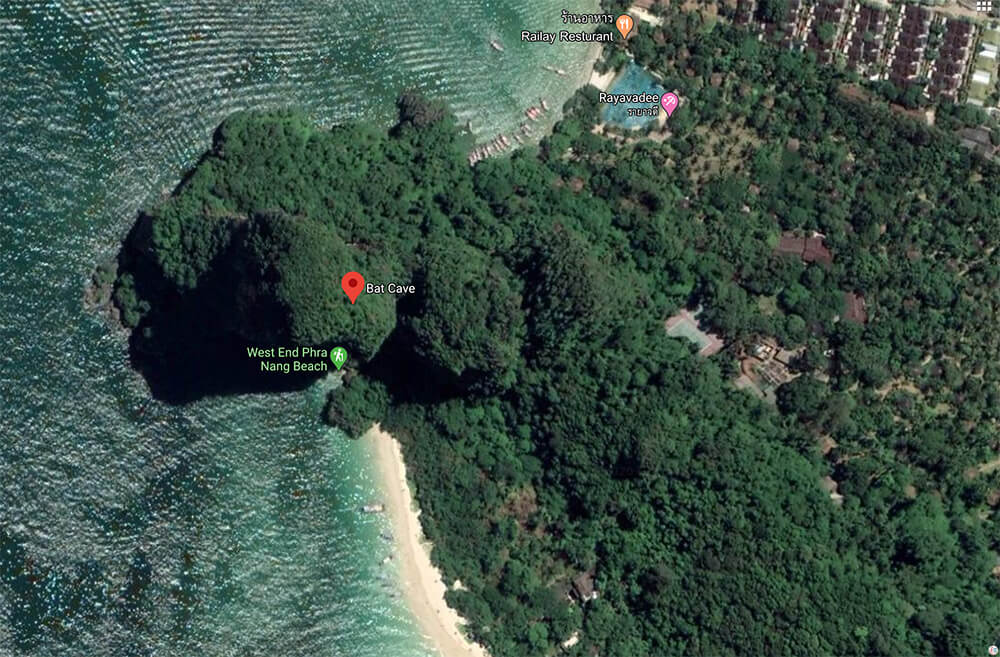 Map of The Bat Cave on West Phra Nang Beach, Best Viewpoints to Hike and Photograph in Krabi, Thailand