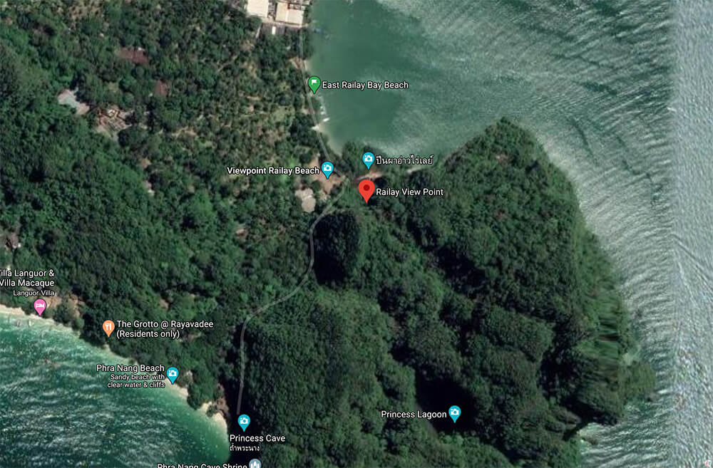 Map of Railay Viewpoint, Best Viewpoints to Hike and Photograph in Krabi, Thailand