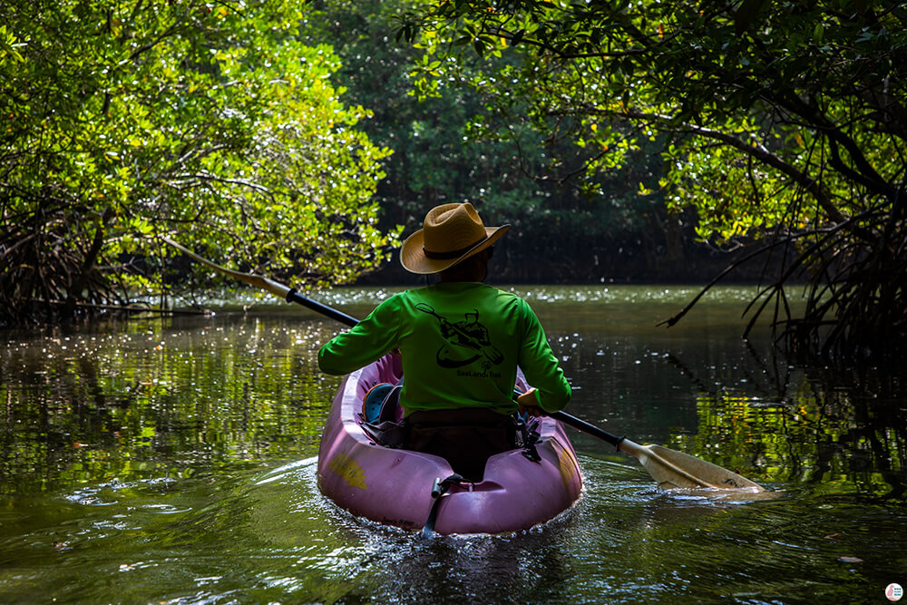 Our guide and his kayak along the Tha Pring River in Than Bok Khorani National Park, Krabi, Thailand